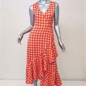 Diane von Furstenberg Dress Orange Gingham